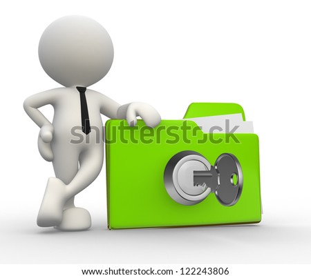 3d people - man, person with a folder and a key. - stock photo