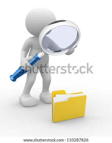3d people - man, person with a folder and a magnifying glass. Search concept - stock photo