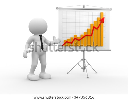 3d people - man, person with a graph financial. Businessman - stock photo