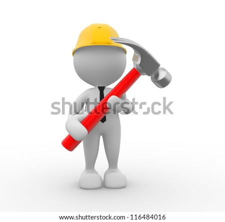 3d people - man, person with a hammer. Businessman and builder - stock photo