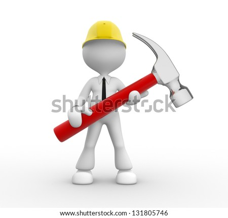 3d people - man, person with a hammer. Businessman and builder