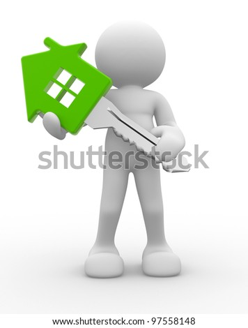 3d people - man, person with a house key. - stock photo