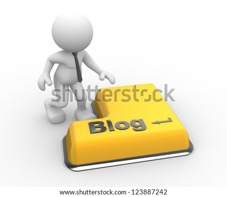 """3d people - man, person  with a keyboard and text """"blog"""" - stock photo"""