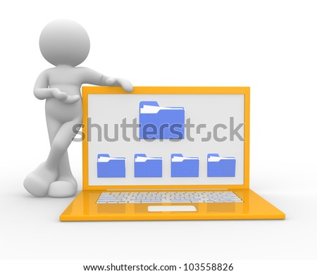 3d people - man, person  with a laptop and a folders. The offer of services - stock photo