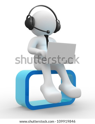 3d people - man , person with a laptop and headphone. - stock photo