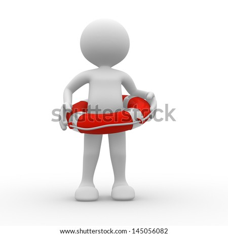 3d people - man, person with a life buoy. - stock photo