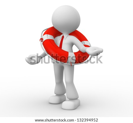 3d people - man, person with a life buoy. Businessman