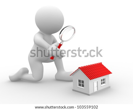 3d people - man, person with a magnifying glass and a house. Search concept. - stock photo