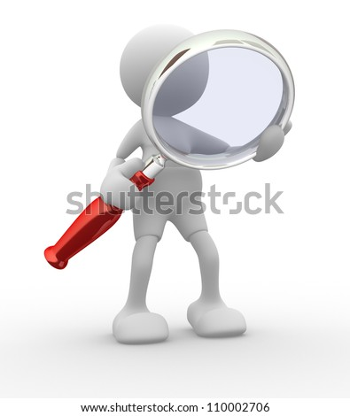 3d people -man,  person  with a magnifying glass.  Search Concept - stock photo