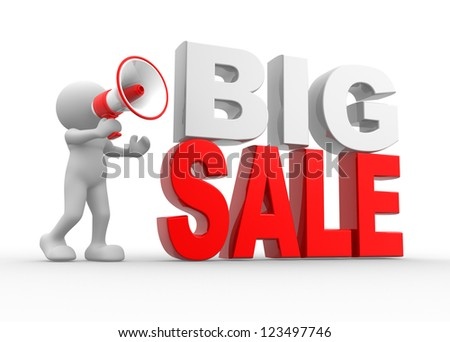 "3d people - man, person with a megaphone and text ""Big Sale"" - stock photo"