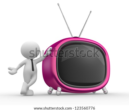 3d people - man, person with a old tv. - stock photo