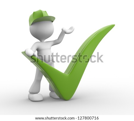 3d people - man, person with a positive symbol - stock photo