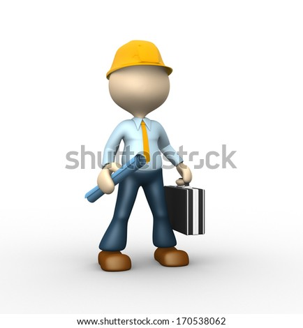3d people - man, person with a project. Engineer