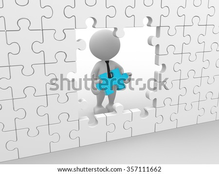 3d people - man, person with a puzzle - stock photo