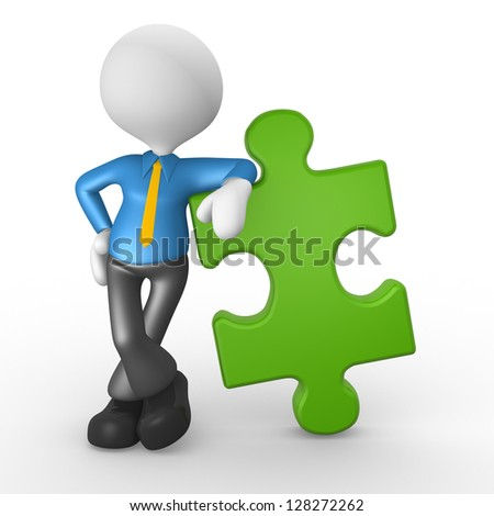 3d people - man, person with a puzzle piece ( jigsaw )