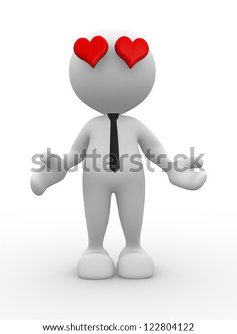 3d people - man, person with a red heart.  Love you - stock photo