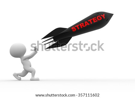 3d people - man, person with a rocket. Strategy concept  - stock photo