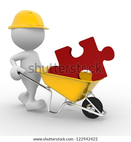 3d people - man, person with a wheelbarrow and a piece of puzzle - stock photo