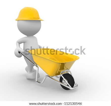 3d people - man, person with a wheelbarrow. Construction worker - stock photo