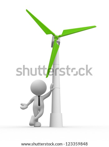 3d people - man, person with a wind turbine. Concept of ecology.