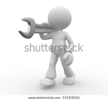 3d people - man, person with a wrench. - stock photo