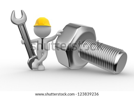 3d people - man, person with a wrench and a screw - stock photo
