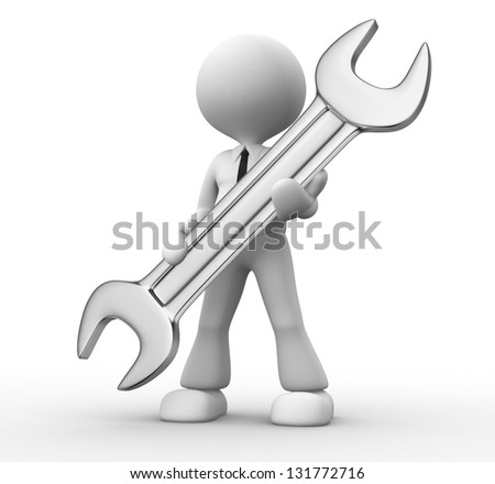 3d  people - man, person with a wrench in hands - stock photo