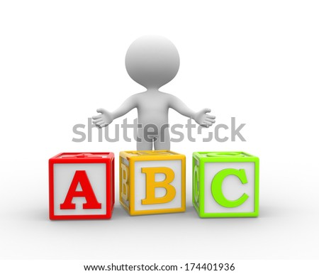 3d people - man, person with alphabet ABC cubes - stock photo