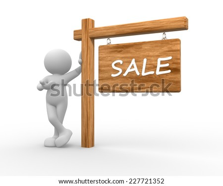 3d people  - man, person with banner. Sale - stock photo
