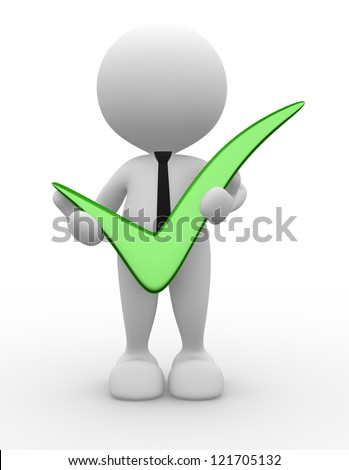 3d people - man, person with big positive symbol in hands. - stock photo