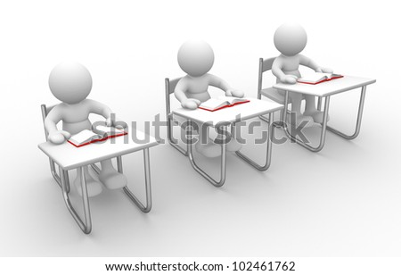 3d people - man, person with  books at  table study - stock photo