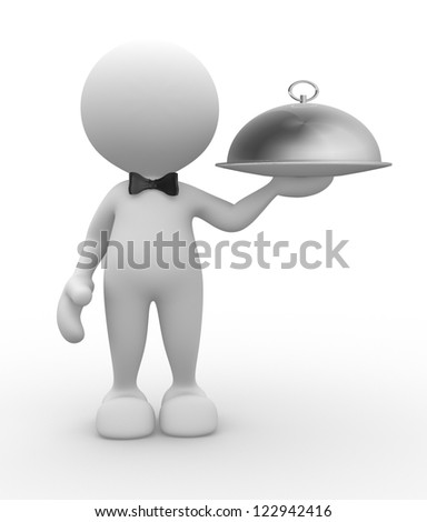 3d people - man, person with  bow-tie. Waiter with tray - stock photo