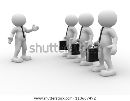 3d people - man, person with briefcase ( businessman). Leader and my team.
