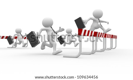 3d people - man, person with briefcase in a hurdle race. Businessmen