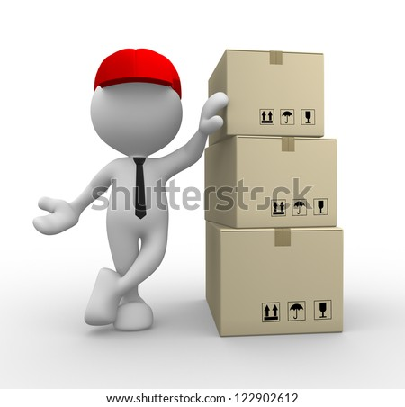 3d people - man, person with cardboard boxes. Postman - stock photo