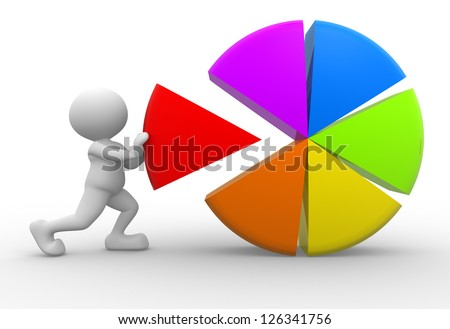 3d people - man, person with colorful pie chart - stock photo
