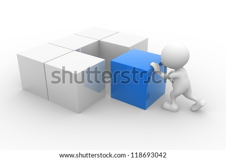 3d people - man, person with cubes. - stock photo