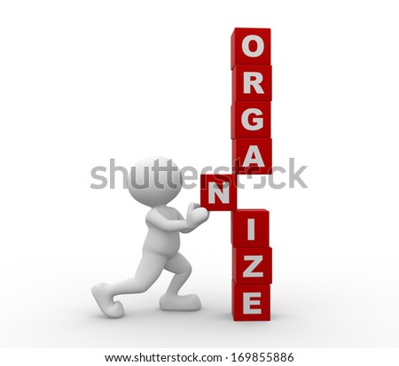 "3d people - man, person with cubes and word ""organize"" - stock photo"