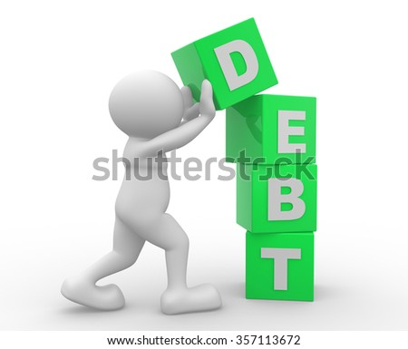 3d people - man, person with cubes. Debt concept. - stock photo