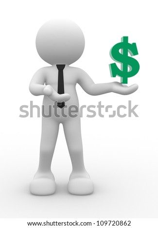 3d people - man, person with dollar symbol.