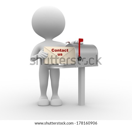3d people - man, person with envelope beside mailbox. Contact us