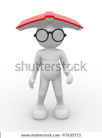 3d people - man , person with eyeglasses and open book. Education concept . Nerd. - stock photo