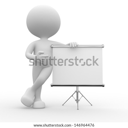 3d people - man, person with flip chart.