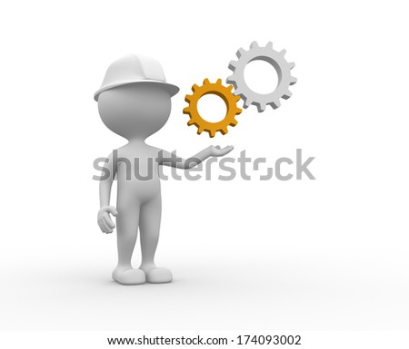 3d people - man, person with gear mechanism. Wheel  - stock photo