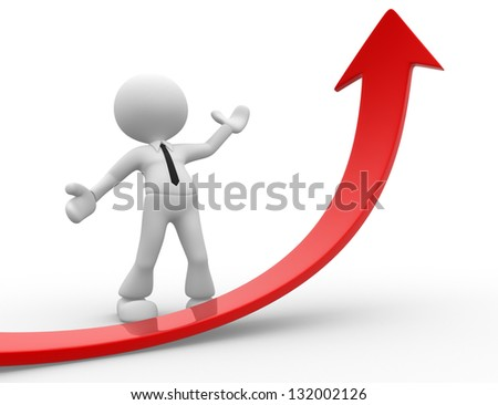 3d people - man, person with graph arrow. - stock photo