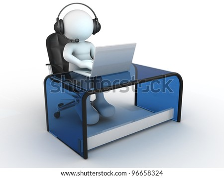 3d people - man, person with headphone sitting at the table and working on a laptop computer. - stock photo