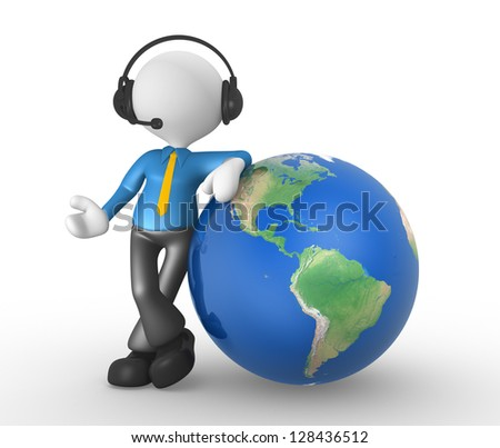 3d people - man, person with headphones and the earth globe - stock photo