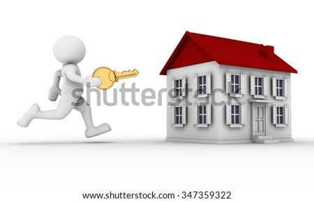 3d people - man, person with key in hand and a house.  - stock photo