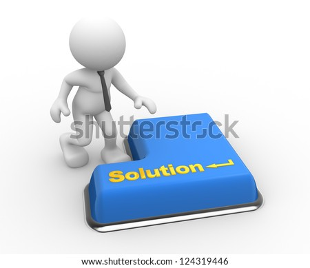 "3d people - man, person with keyboard and word ""solution"" - stock photo"