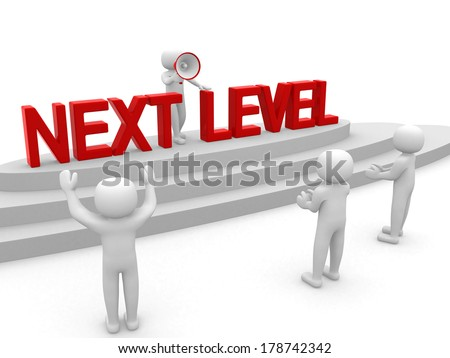 3d people - man, person with ladder. Next level. Progress concept - stock photo